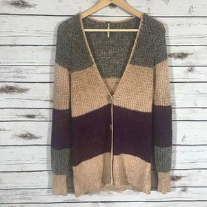 Free People open knit color block cardigan